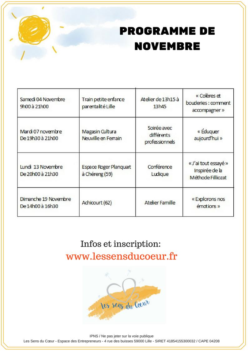Programme du mois de Novembre Les Sens du Coeur